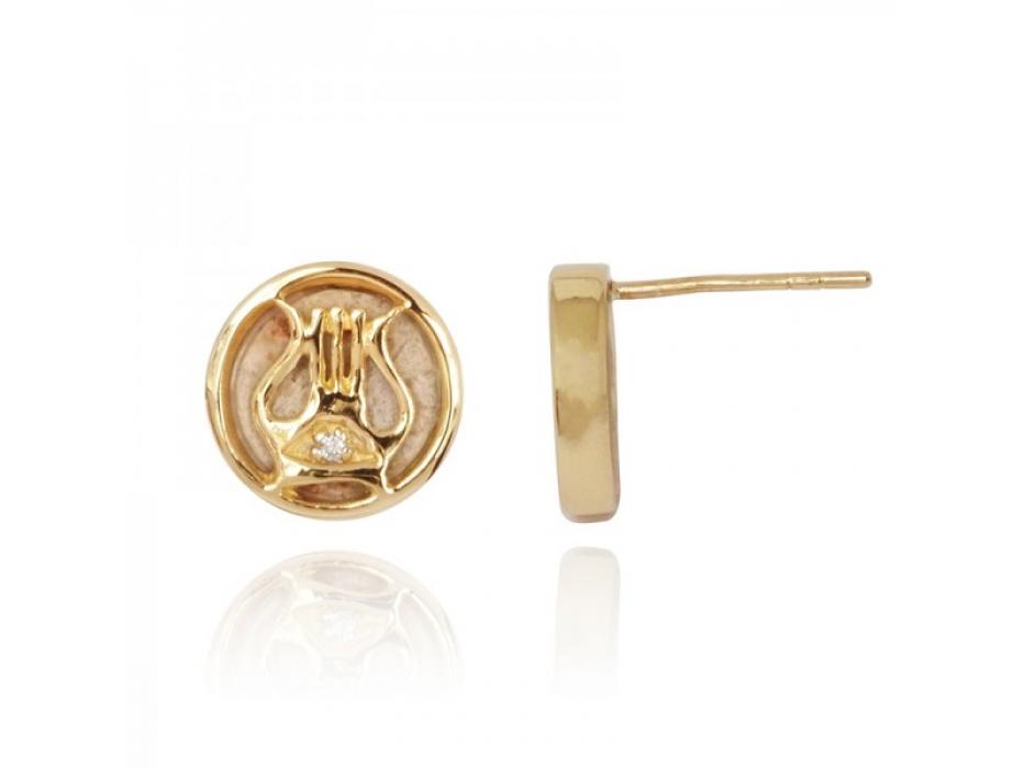 14K Gold Diamond and Jerusalem Stone David's Harp Stud Earrings