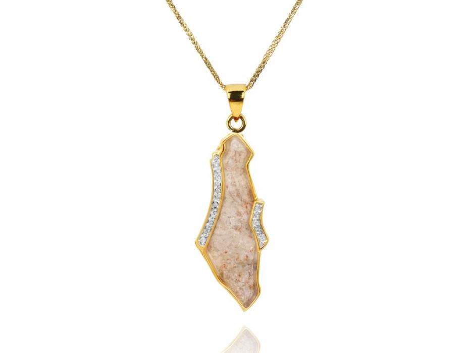 14K Gold Diamonds and Jerusalem Stone Land of Israel Necklace