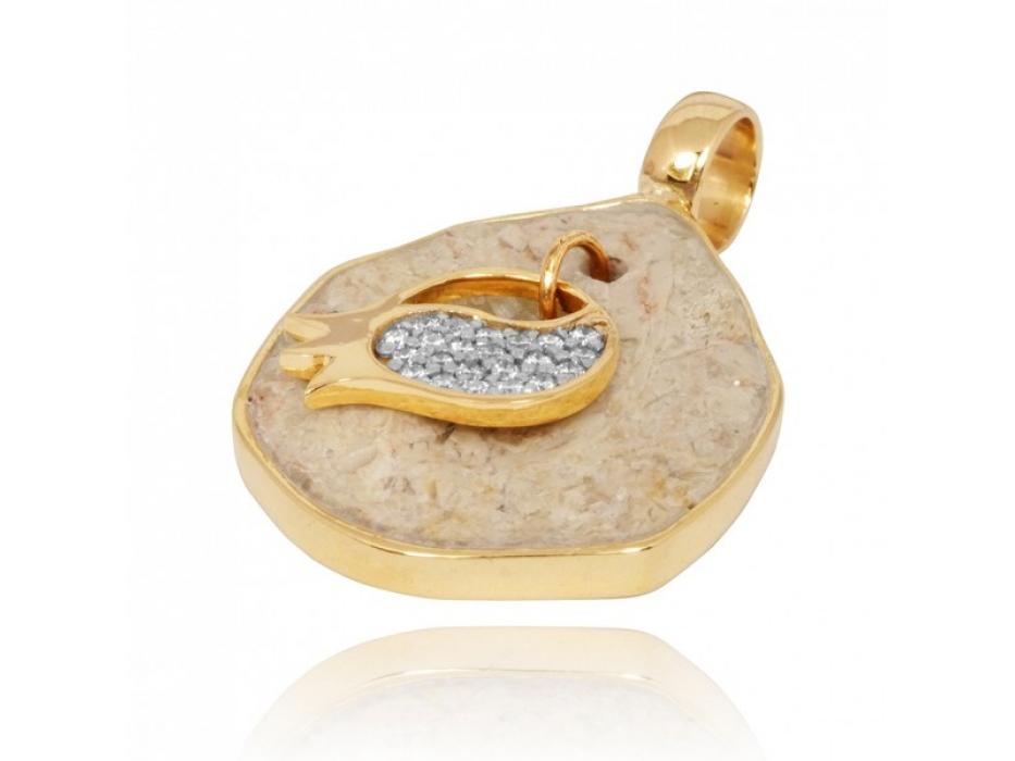 14K Gold Diamonds and Jerusalem Stone Pomegranate Pendant