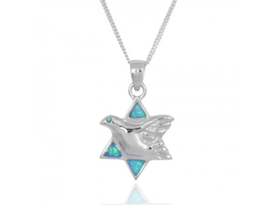 Peace Dove Star of David Necklace, Silver & Opal