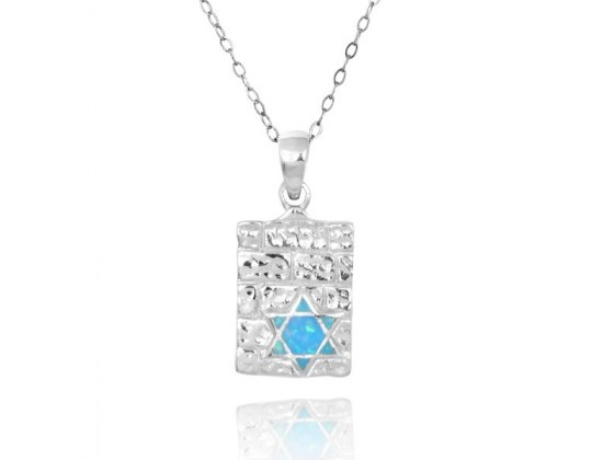 Silver Western Wall Pendant with Opal Star of David