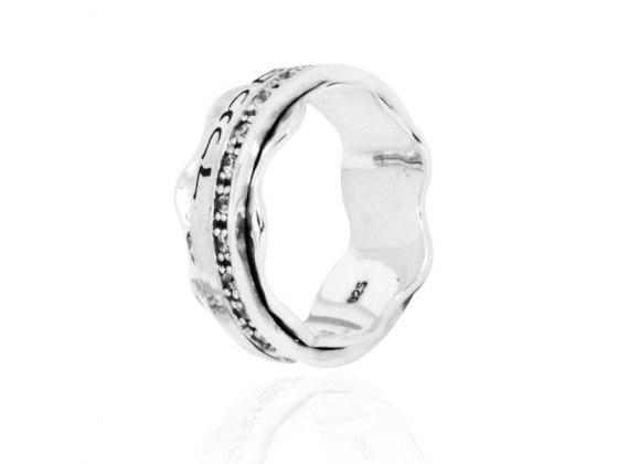 Silver and White CZ Priestly Blessing Spinning Ring Wave Design