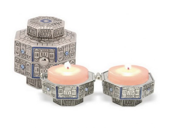 Octagon Silver Plated Travel Candlesticks with Blue Enamel