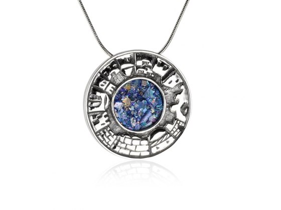 Old City Jerusalem Silver Round Roman Glass Necklace