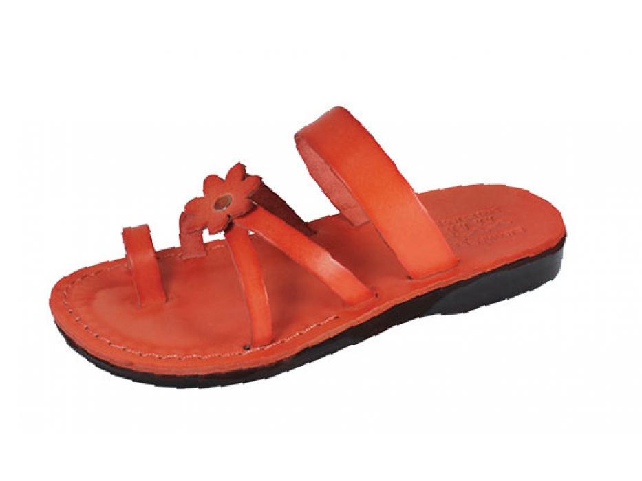 Orange Flower Toe Strap Israeli Handmade Leather Sandals