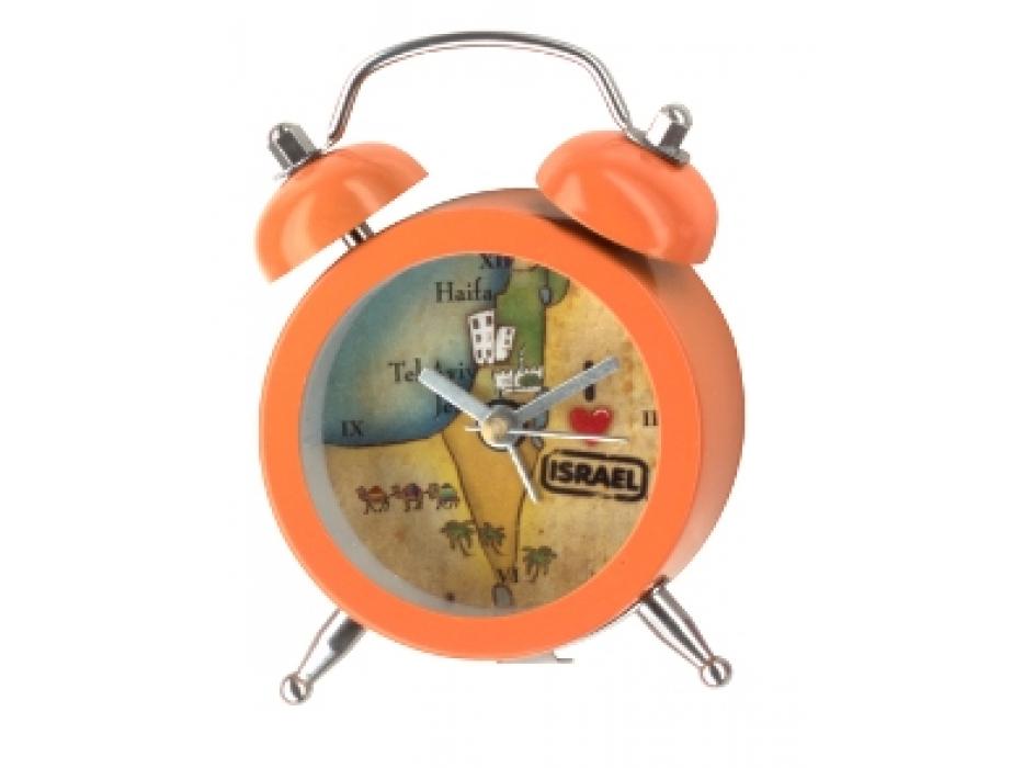 Orange Mini Alarm Clock with Israel Map