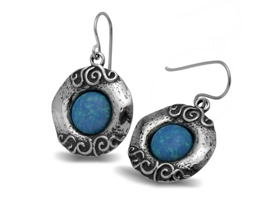 Ornamented Sterling Silver and Opal Earrings