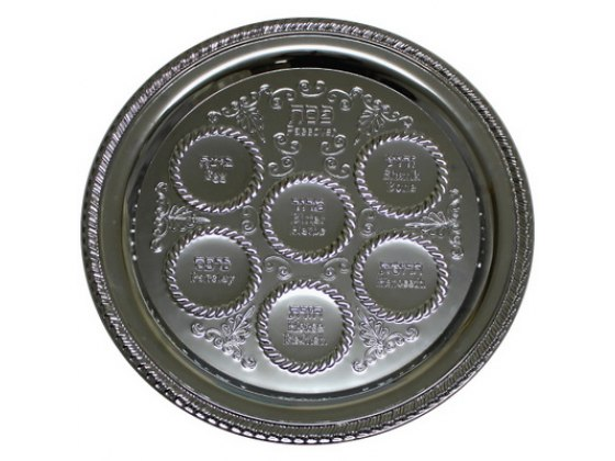 Ornate Leaves Decorations Round Seder Plate