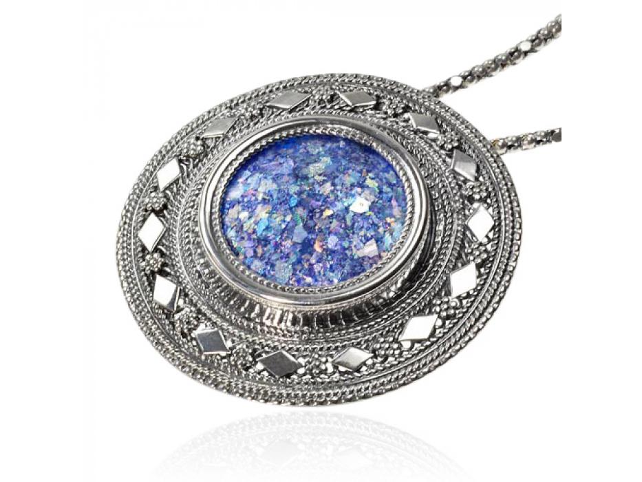 Ornate Silver Round Roman Glass Necklace