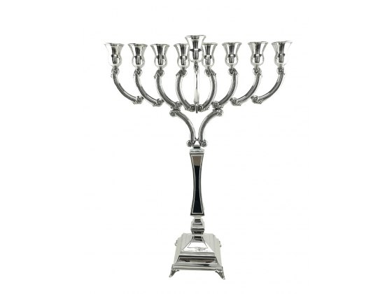 Ornately-Etched Sterling silver Menorah with curved arms: Hadad bros