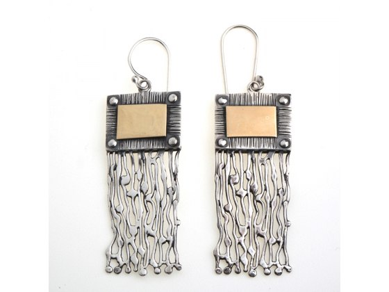 Oxidized Silver Earring featuring Solid Gold Accent, Idit Jewelry