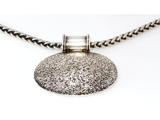 Oxidized Silver Plate Large Disc Pendant Necklace - Anava Jewelry
