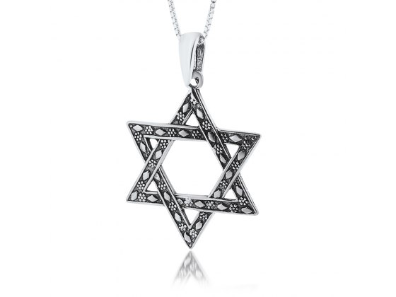 Silver Star of David Necklace flowers and Flowers