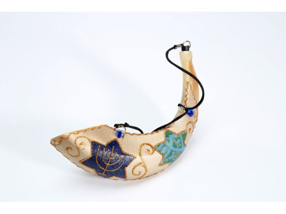 Painted Anointing Oil Rams Horn Shofar with Star of David and Menorah