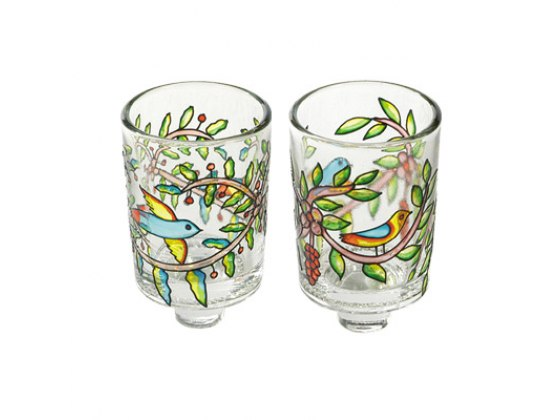 Painted Glass Oil Candle Holders Birds and Flowers
