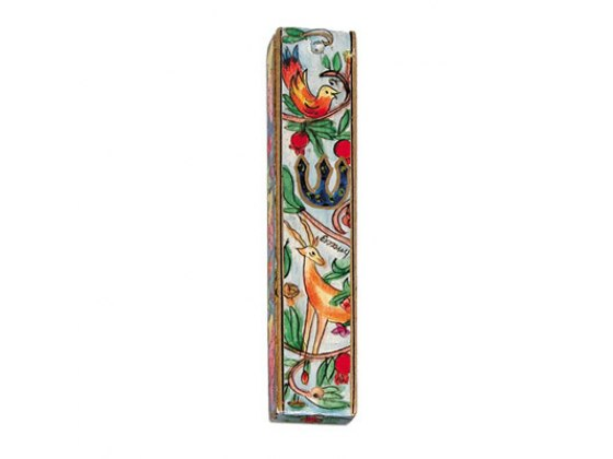 Small Painted Wood Mezuzah Case with Bird and Antelope and Pomegranate Tree