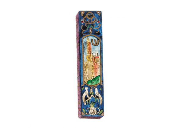 Small Painted Wood Mezuzah Case with Doves and Window to Jerusalem