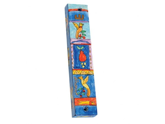 Small Painted Wood Mezuzah Case with Pomegranate and Birds