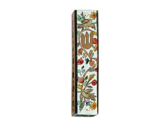 Small Painted Wood Mezuzah Case with Flowering Pomegranate Branches with Doves