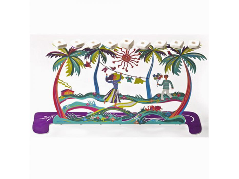 Palm Trees Hanukkah Menorah
