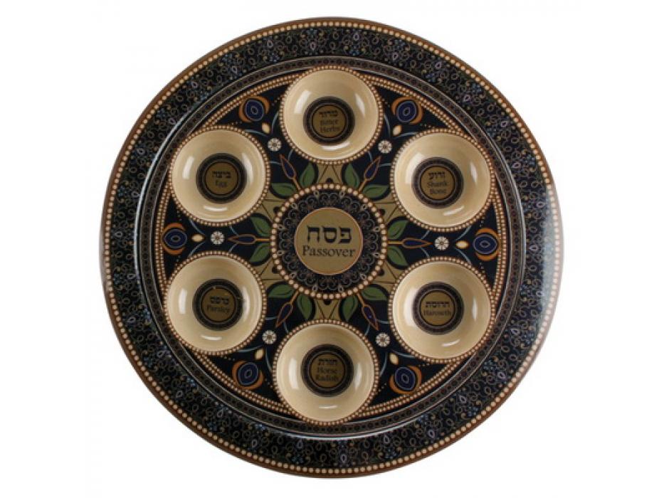 Passover  Seder Plate Brown Bamboo Fiber