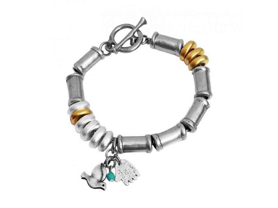 Gold and Silver Peace Dove Hamsa, Israeli Bracelet