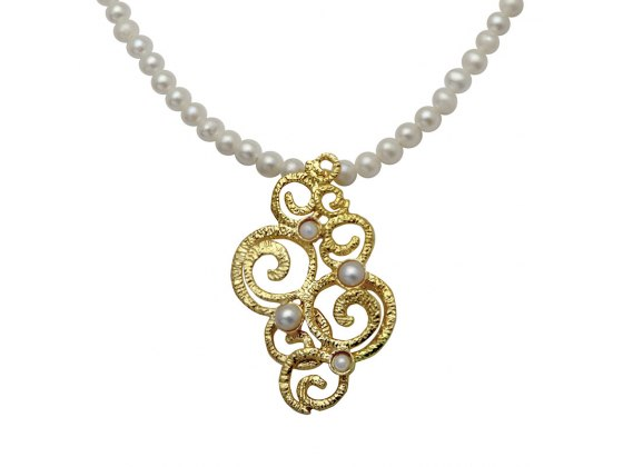 Pearl Necklace & Gold ornaments Pendant, Jewish Jewelry