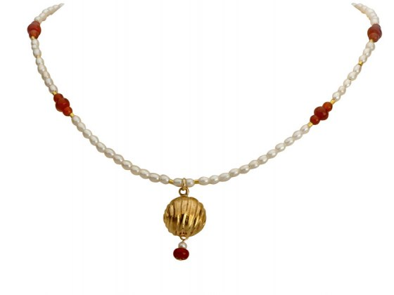 Pearl Necklace with Golden Bell, Jewish jewelry