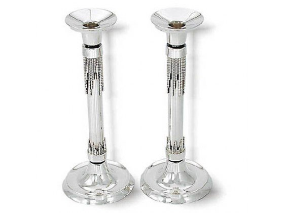 Pearl Strand Decoration Sterling Silver Shabbat Candlesticks with Shiny Ends
