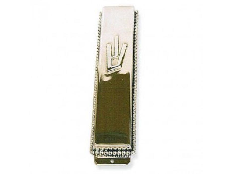 Pearls Ornament and Letter Shin Silver Mezuzah Case