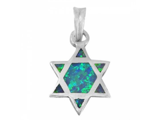 Perfect Star of David Necklace, Silver & Opal