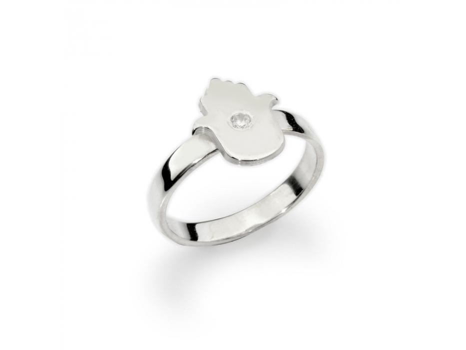 Silver Custom Hamsa Hebrew Name Ring with Zircon