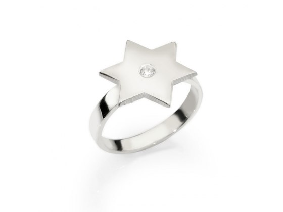 Custom Star of David Hebrew Name Ring with Zircon