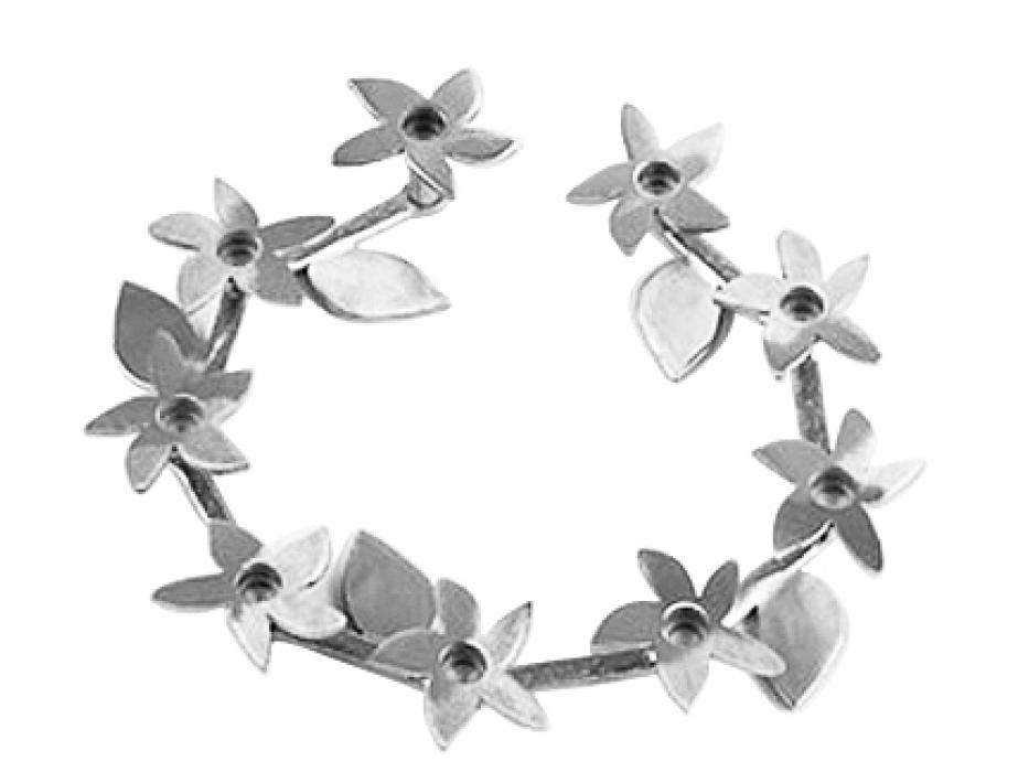 Pewter Flower & Leaves Chanukah menorah, Alim Studio