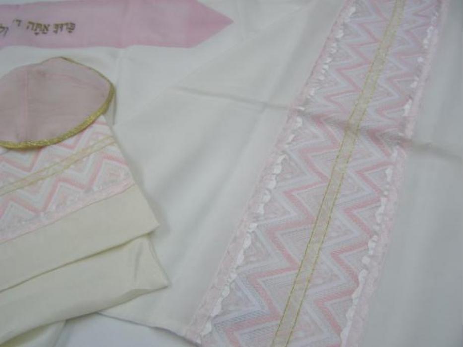 Pink and Cream, Prayer Shawls for Women