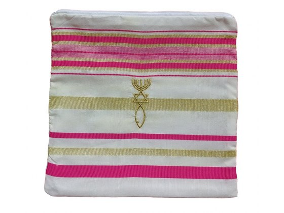 "Pink and Gold Christian Prayer Shawl Eng / Heb Verses (72"" x 22"")"