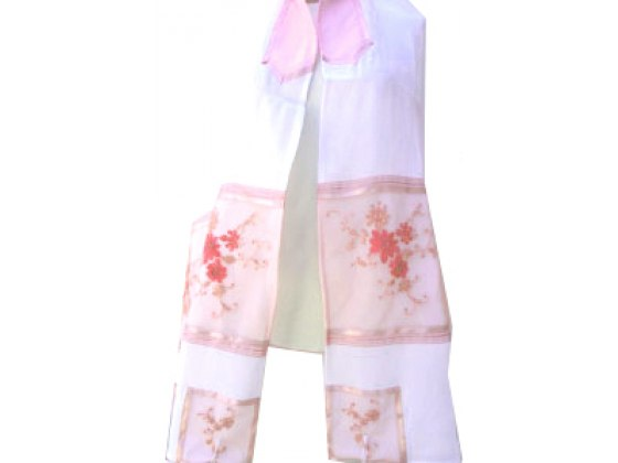 Pink Floral Embroidered Tallit Prayer Shawl by Galilee Silks