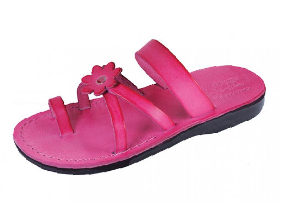 Pink Flower Toe Strap Israeli Handmade Leather Sandals