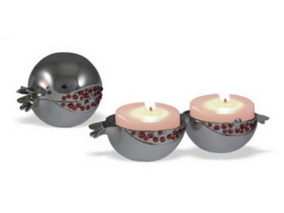 Pomegranate Silver Plated Travel Candlesticks with Red Stones