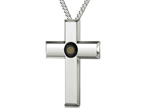 Psalm 23 Sterling Silver Cross - Black Jet