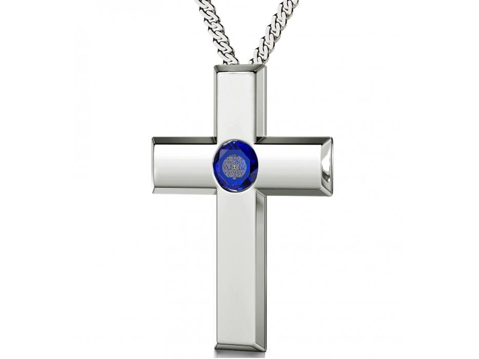 Psalm 23 Sterling Silver Cross  -Blue Sapphire