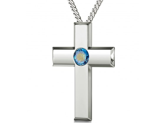 Psalm 23 Sterling Silver Cross - Light Blue Aqua