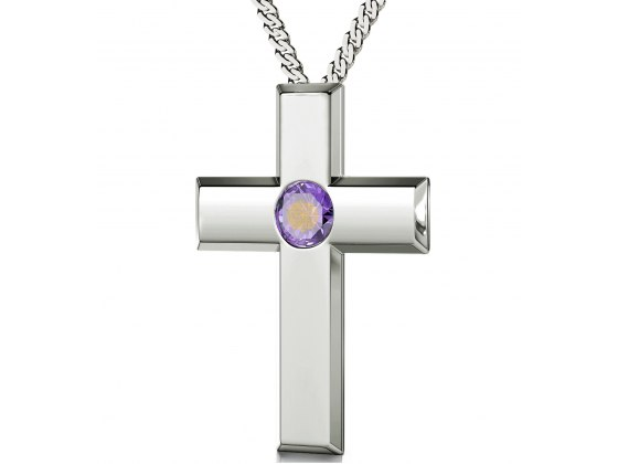Psalm 23 Sterling Silver Cross  - Violet Light Amethyst