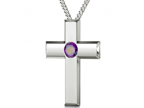 Psalm 23 Sterling Silver Cross - Purple Amethyst