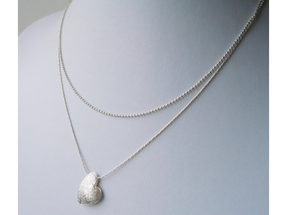 Puffy Silver Heart Necklace - Shlomit Ofir Jewelry