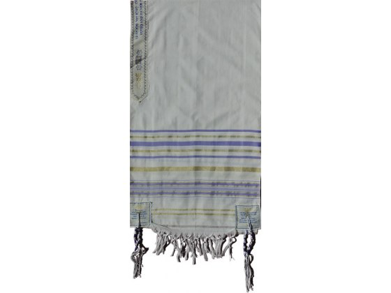 "Purple and Gold Christian Prayer Shawl (72"" x 22"")"