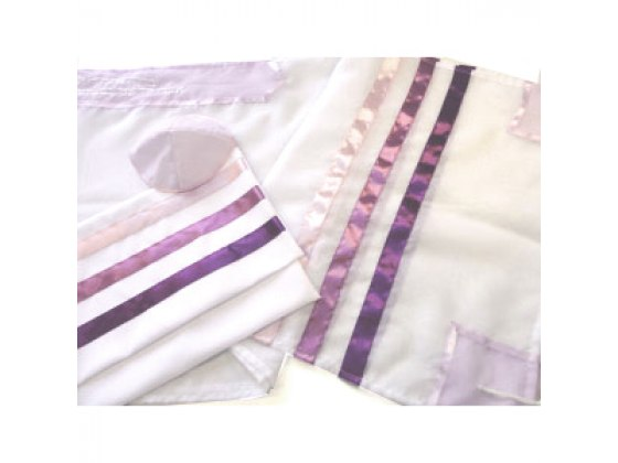 Purple Striped Tallit Prayer Shawl by Galilee Silks