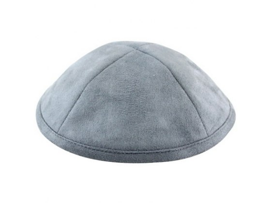 Quality Kippah Ultra Suede Grey with Pin Spot
