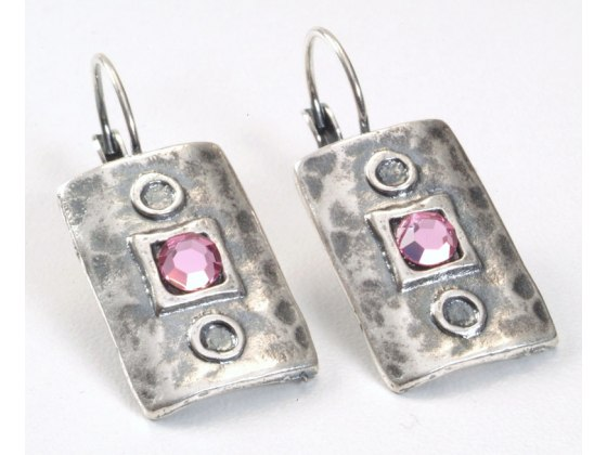 Rectangle Silver Plated and Pink Crystals Earrings, Israeli Jewelry