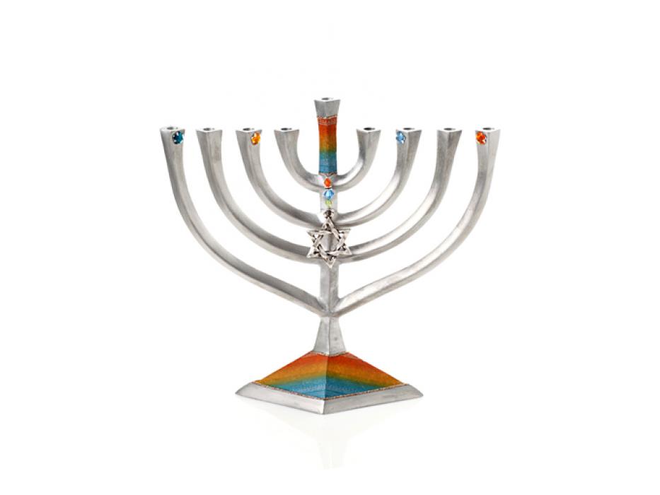Rectangular Aluminum Hanukkah Menorah by Lily Art